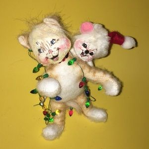 "6"" annalee calico cat mouse ornament 2006 mobiltee"